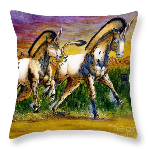 Artwork Throw Pillow featuring the painting Unicorns In Sunset by Melissa A Benson