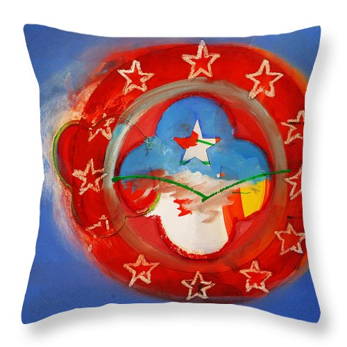 Symbol Throw Pillow featuring the painting Union Blue by Charles Stuart