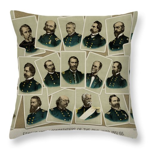 Civil War Throw Pillow featuring the photograph Union Commanders Of The Civil War  by Daniel Hagerman