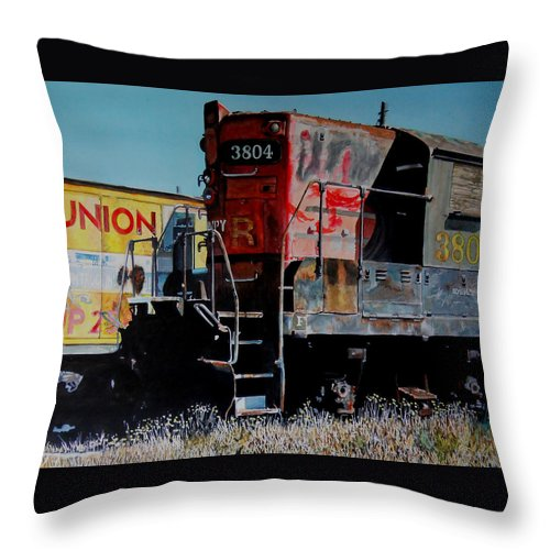 Train Throw Pillow featuring the painting Union by Gail Chandler