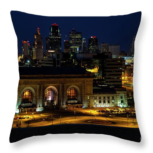 Union Station Throw Pillow featuring the photograph Union Station In Kansas City by Carolyn Fox