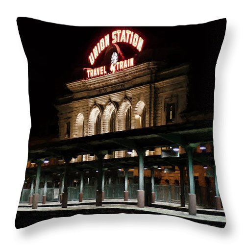 Union Station Throw Pillow featuring the photograph Union Station Denver Colorado by Ken Smith