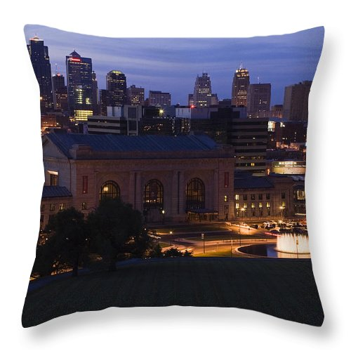 Union Station Throw Pillow featuring the photograph Union Station Kansas City by Chad Davis