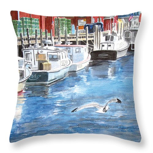 Seagull Throw Pillow featuring the painting Union Wharf by Dominic White
