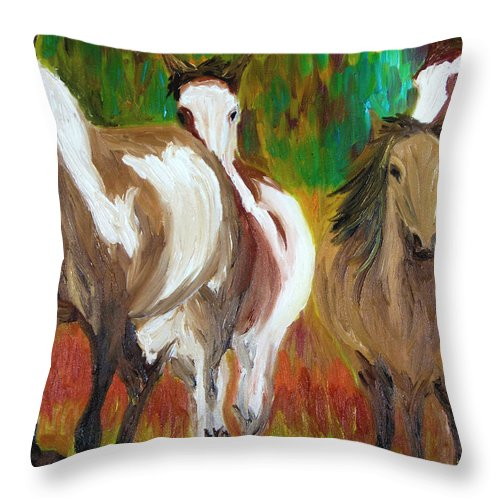 Mustangs Throw Pillow featuring the painting United By Color by Michael Lee