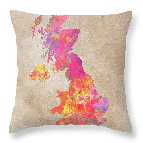 United Kingdom Throw Pillow featuring the digital art United Kingdom Map by Justyna JBJart