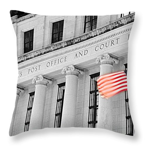 Architecture Throw Pillow featuring the photograph United States Flag by Jill Reger