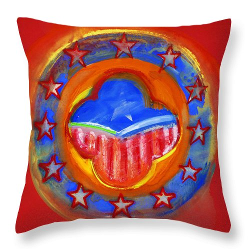Symbol Throw Pillow featuring the painting United States Of Europe by Charles Stuart