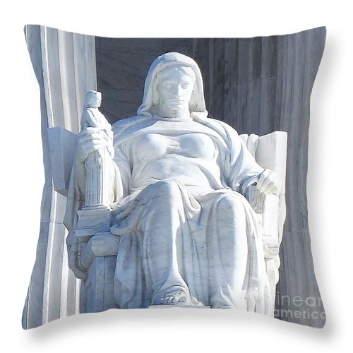 United States Supreme Court Throw Pillow featuring the photograph United States Supreme Court, The Contemplation Of Justice Statue, Washington, Dc 2 by Anthony Schafer