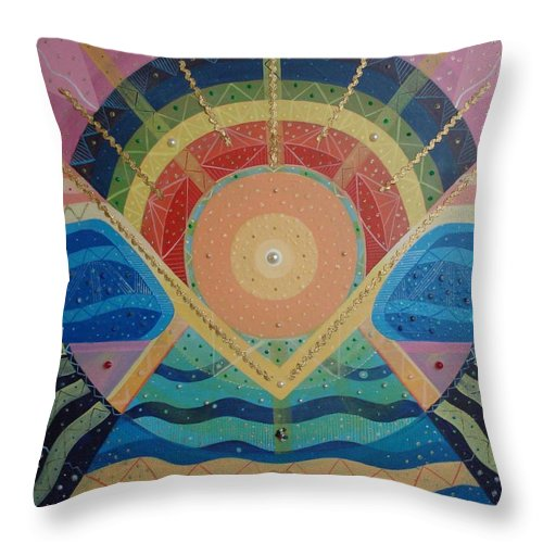 Unity Throw Pillow featuring the mixed media Unity I Oneness by Helena Tiainen