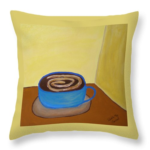 Universal Mocha Throw Pillow featuring the painting Universal Mocha by Beth Cornell