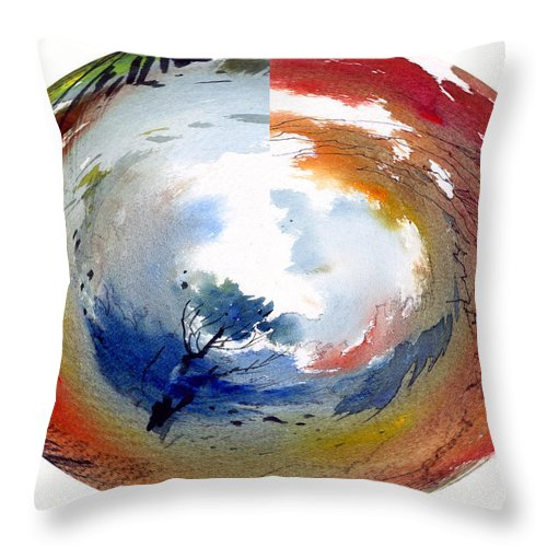 Landscape Water Color Watercolor Digital Mixed Media Throw Pillow featuring the painting Universe by Anil Nene