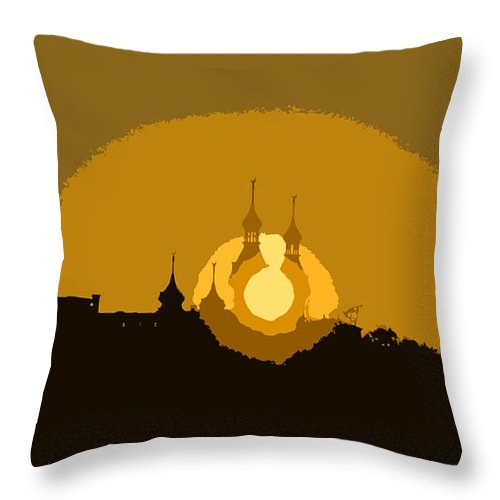 University Of Tampa Throw Pillow featuring the painting University Minarets by David Lee Thompson