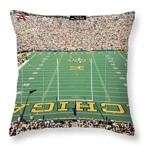 Photography Throw Pillow featuring the photograph University Of Michigan Stadium, Ann by Panoramic Images