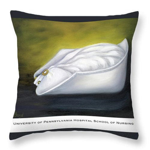 Nurse Throw Pillow featuring the painting University Of Pennsylvania Hospital School Of Nursing by Marlyn Boyd