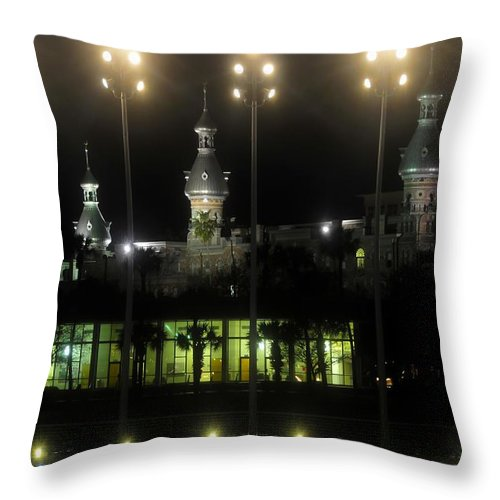 University Of Tampa Throw Pillow featuring the photograph University Of Tampa Lights by David Lee Thompson