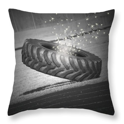 Tire Throw Pillow featuring the digital art Unknown Portals by Cathy Beharriell