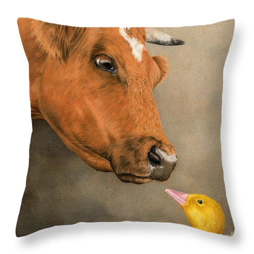 Cow Throw Pillow featuring the painting Friends Come In All Sizes by Sarah Batalka