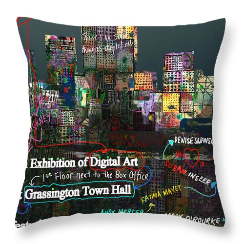 Grassington Throw Pillow featuring the digital art Unofficial Grassington Festival Poster by Andy Mercer
