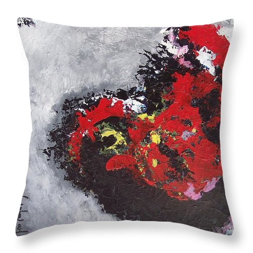 Poetry Paintings Throw Pillow featuring the painting Unread Poem Black And Red Paintings by Seon-Jeong Kim