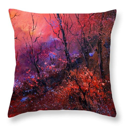 Wood Sunset Tree Throw Pillow featuring the painting Unset In The Wood by Pol Ledent