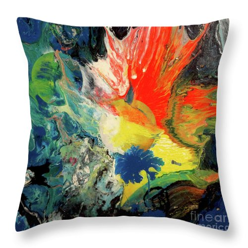 Moon Throw Pillow featuring the painting Untitled 2 by Yoseph Abate