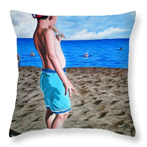Summer Throw Pillow featuring the painting Untitled-3 by Rezzan Erguvan-Onal