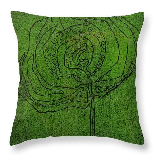 Green Throw Pillow featuring the painting Untitled by Angela Dickerson