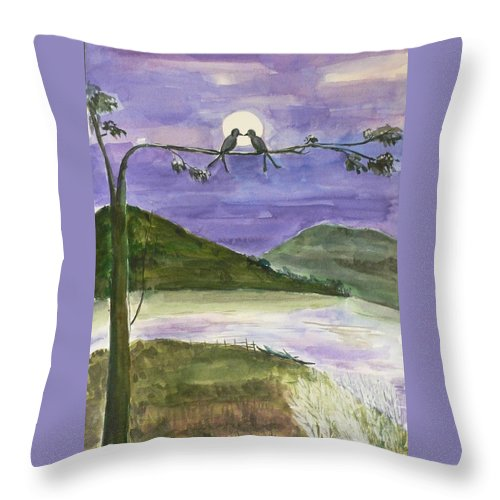 Landscape Throw Pillow featuring the painting Untitled by Geeta Biswas