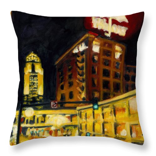 Rob Reeves Throw Pillow featuring the painting Untitled In Red And Gold by Robert Reeves