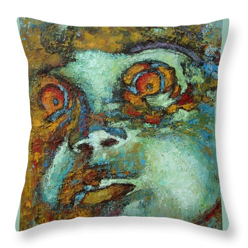 Oil Throw Pillow featuring the painting Untitled by Ioulia Sotiriou