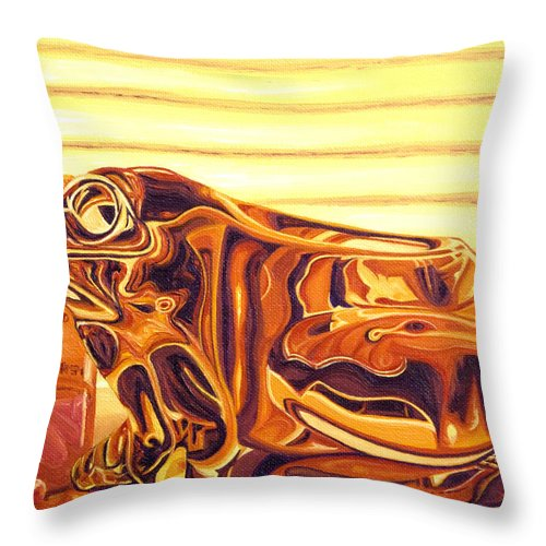 Frog Throw Pillow featuring the painting Untitled by Judy Henninger