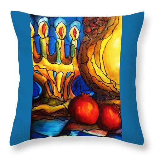 Original Art Throw Pillow featuring the painting Still Life With Grapes And Pomegranates by Rae Chichilnitsky