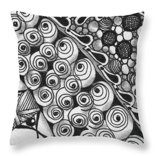 Zentangle Throw Pillow featuring the drawing Untitled by Jan Steinle
