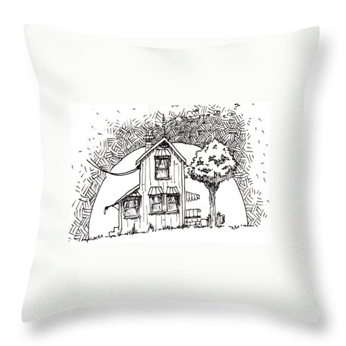 House Throw Pillow featuring the drawing Untitled by Tobey Anderson