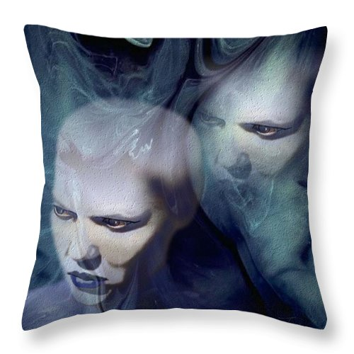 Dream Afterlife Experience Blue Smoke Throw Pillow featuring the digital art Untitled by Veronica Jackson