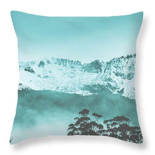 Snow Throw Pillow featuring the photograph Untouched Winter Peaks by Jorgo Photography - Wall Art Gallery