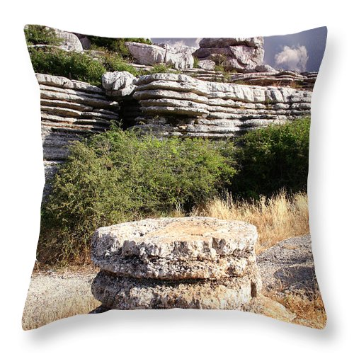 Limestone Throw Pillow featuring the photograph Unusual Rock Formations In The El Torcal Mountains Near Antequera Spain by Mal Bray