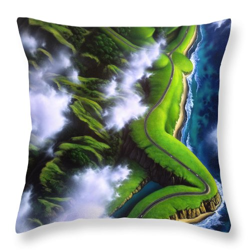 Coastline Throw Pillow featuring the painting Unveiled by Jerry LoFaro