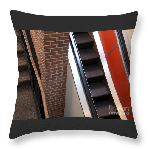Escalator Throw Pillow featuring the photograph Up And Down by Ann Horn