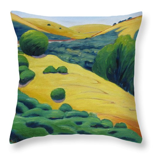 Road Throw Pillow featuring the painting Up Bernal Road by Gary Coleman