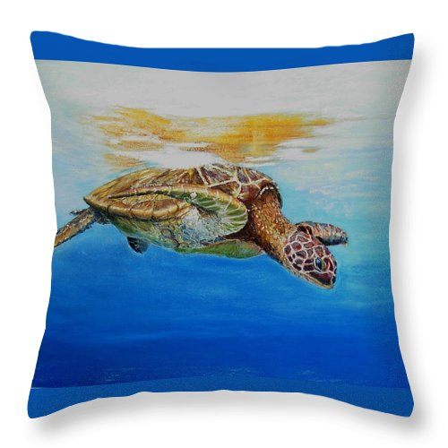 Wildlife Throw Pillow featuring the painting Up For Some Rays by Ceci Watson
