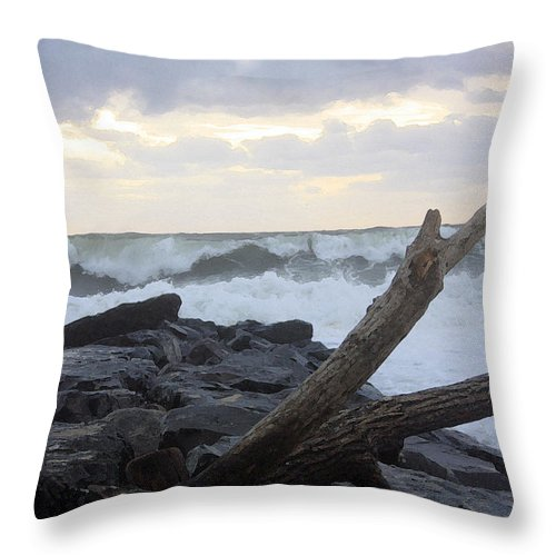 Landscape Throw Pillow featuring the photograph Up On The Rocks by Mary Haber
