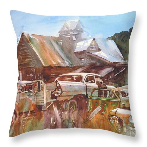 Chev Plymouth House Barn Throw Pillow featuring the painting Up the Road a Bit by Ron Morrison