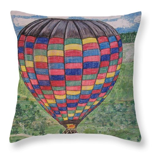 Balloon Ride Throw Pillow featuring the painting Up Up And Away by Kathy Marrs Chandler