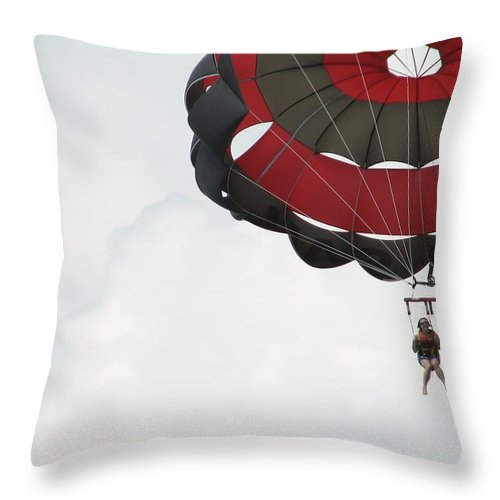 Parasail Throw Pillow featuring the photograph Up Up And Away by Kelly Mezzapelle