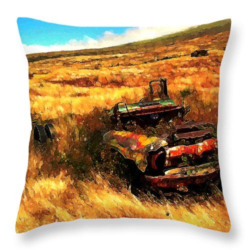 Upcountry Throw Pillow featuring the digital art Upcountry Wreck by Kenneth Armand Johnson