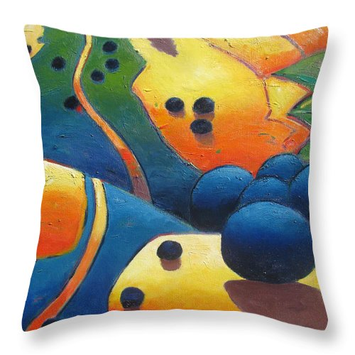 California Hills Throw Pillow featuring the painting Uphill Climb Revisited. by Gary Coleman