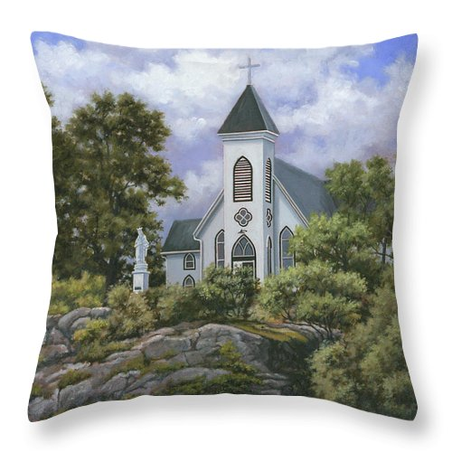 Church Throw Pillow featuring the painting Upon This Rock by Richard De Wolfe