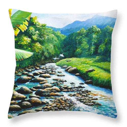 Chris Cox Throw Pillow featuring the painting Upriver by Christopher Cox